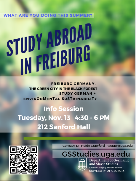 Study Abroad Freiburg info session poster. Event on Nov. 13 from 4:30-6pm in Room 212 Sanford Hall.