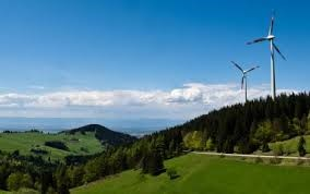 mountains of Germany with windmills in the distance