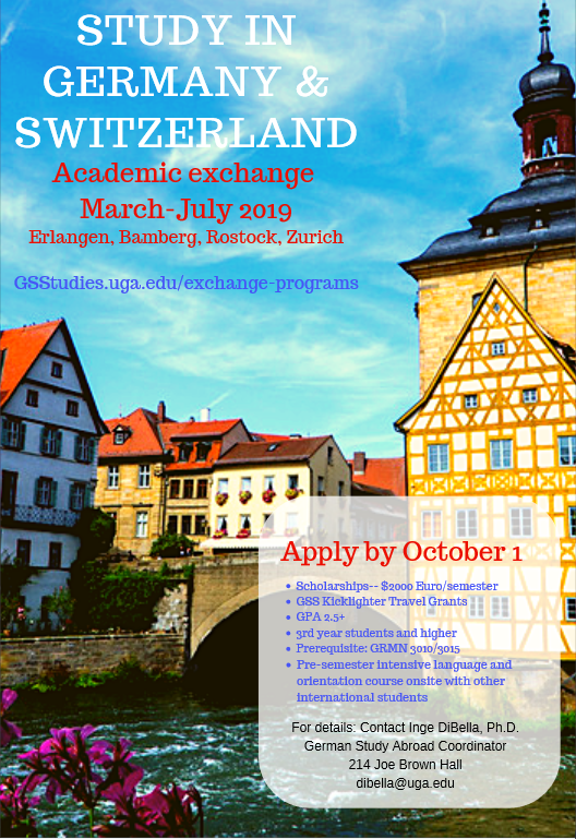 A poster for the Academic Exchange Program in Germany and Switzerland.