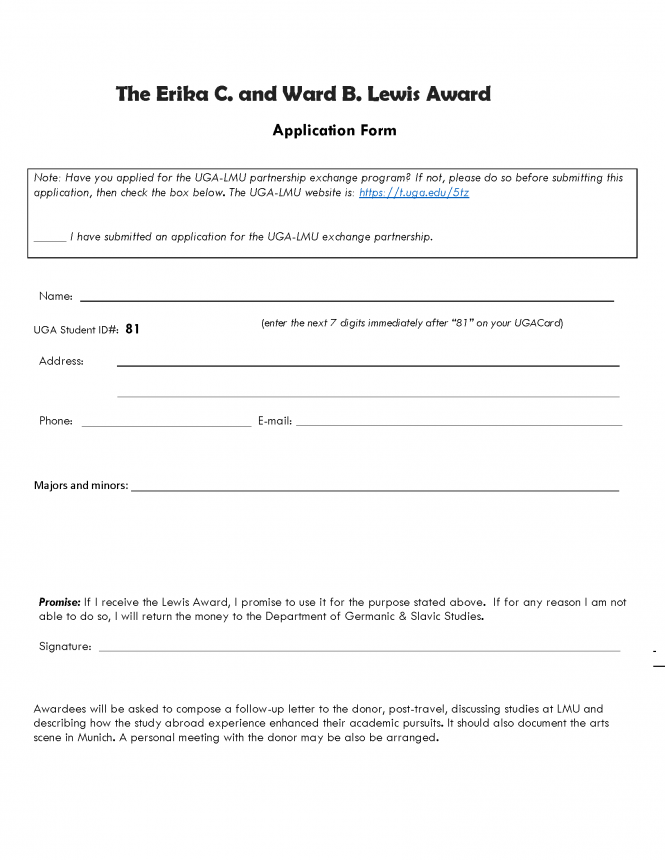 Page 2 of the Lewis Award Application