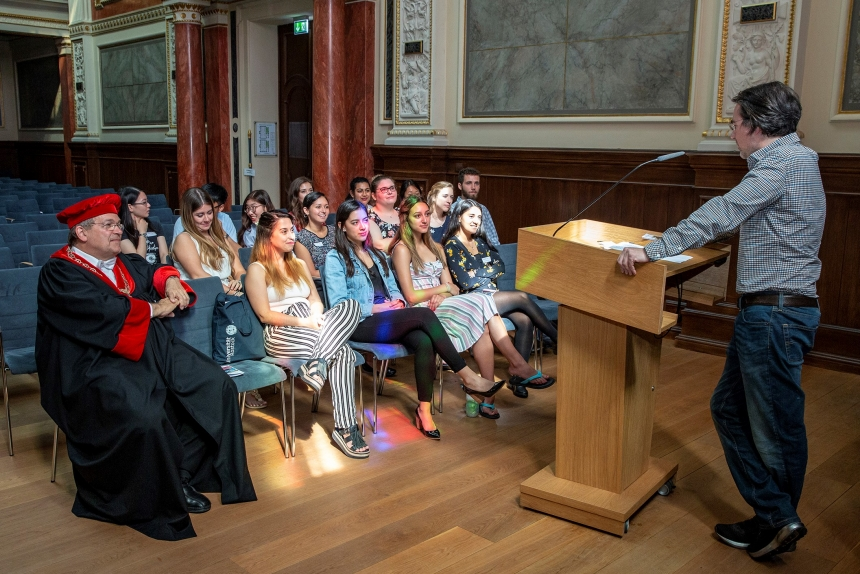 American exchange students attend a lecture in a historic building in Rostock, Germany.