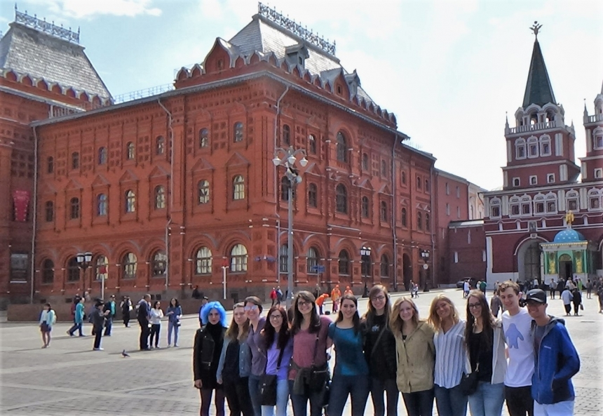 students in Russia on Study Abroad trip in 2018