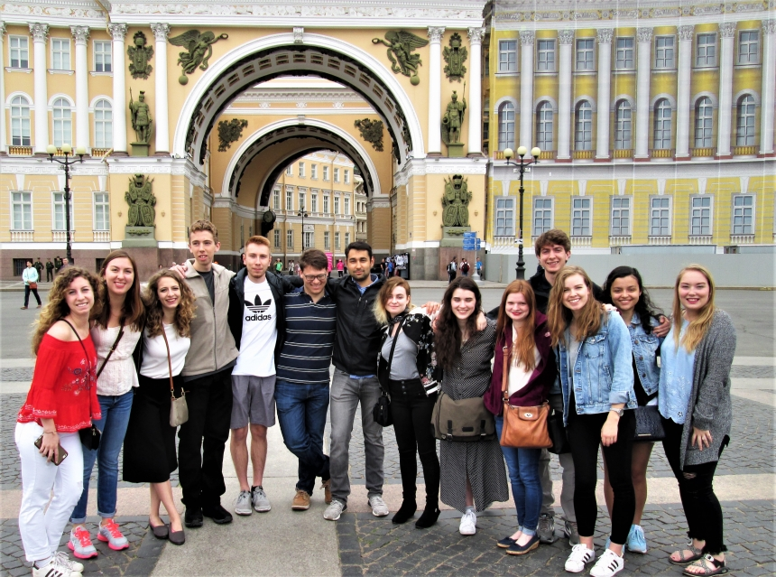 Image of UGA students in Russia in summer 2018
