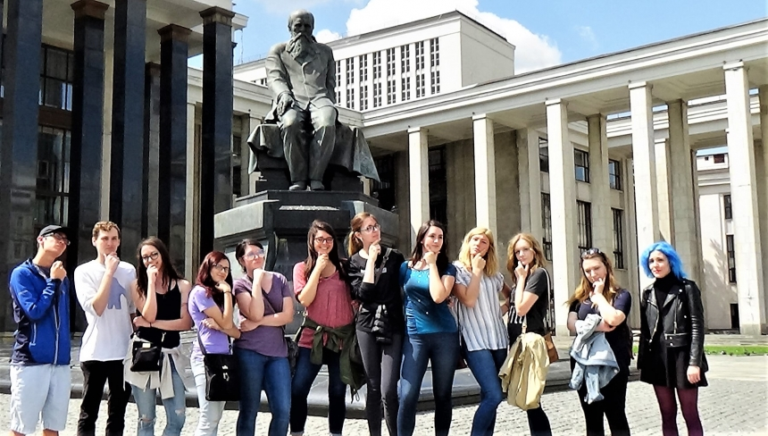 Image of students on a UGA study abroad trip to Russia.