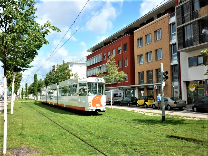 Electric tram in Freiburg, Germany.