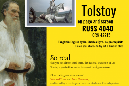 Tolstoy on page and screen, a course taught in fall 2019, RUSS 4040 (CRN 42215)