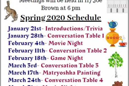 Events of The Russian Club at UGA for spring 2020.